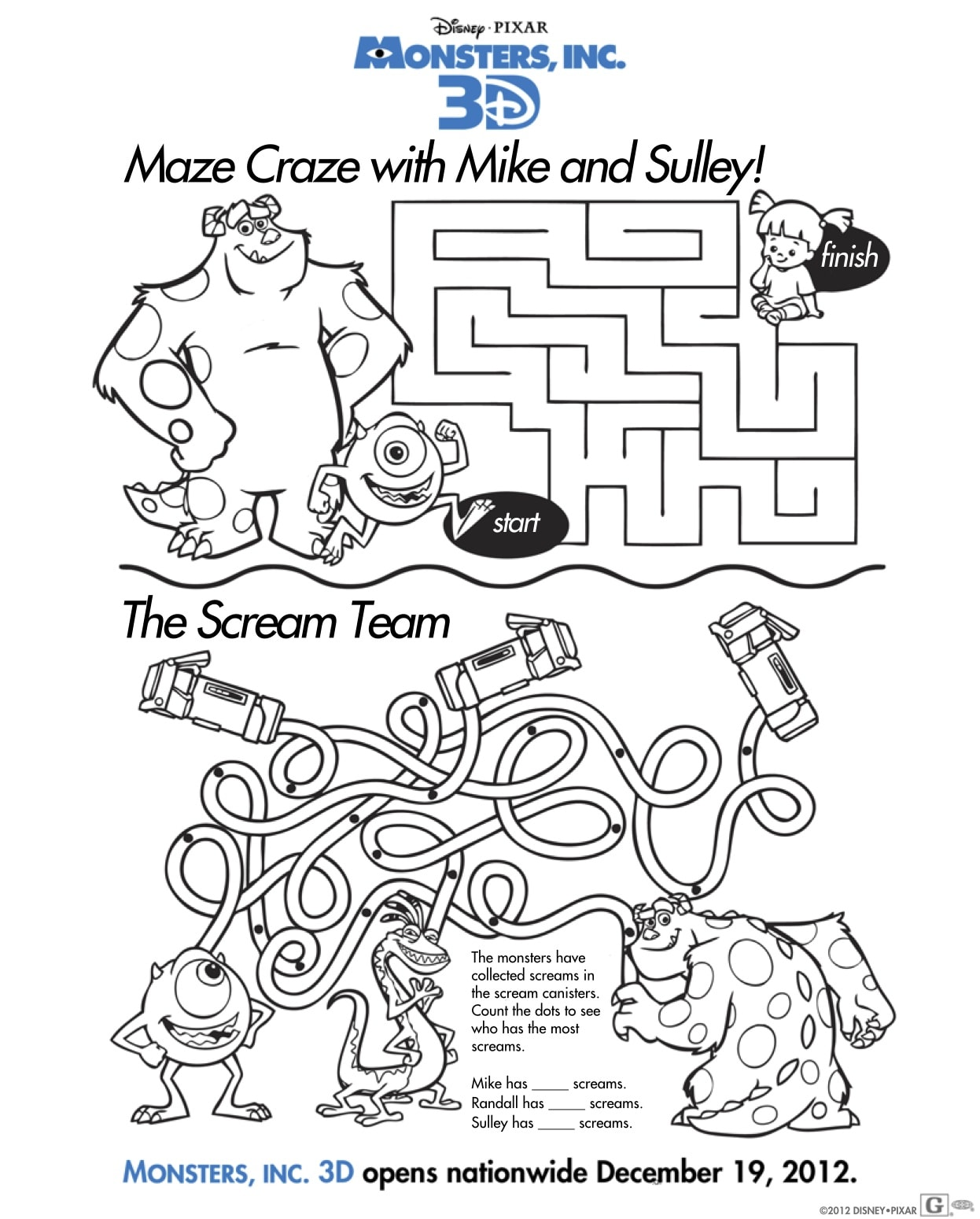 Free Monsters Inc 3D Activity Sheets: Download Coloring Pages Here ...