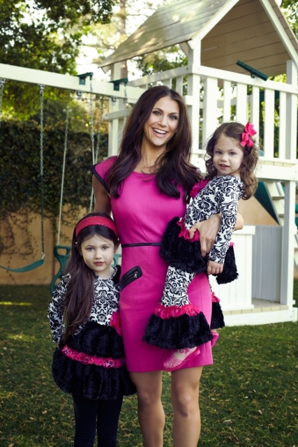 Samantha Harris and her two daughters