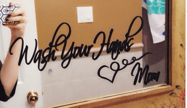Wash your Hands Love Mom Bathroom Mirror Sign