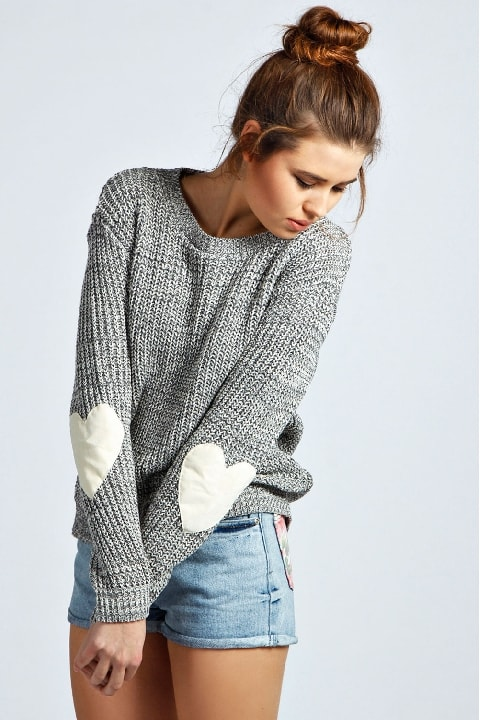 boohoo Harper Heart Elbow Patch Jumper