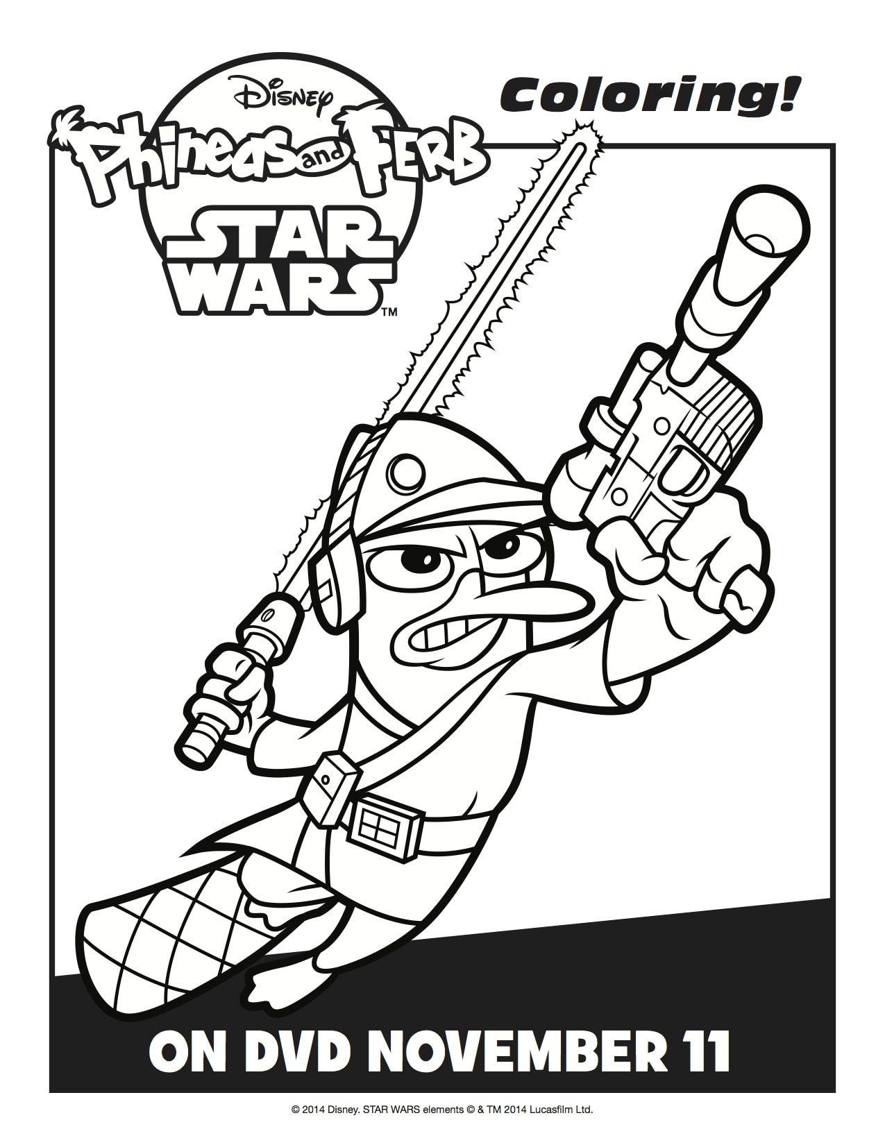 """Phineas And Ferb: Star Wars"" FREE Activity Sheets - Lady ..."