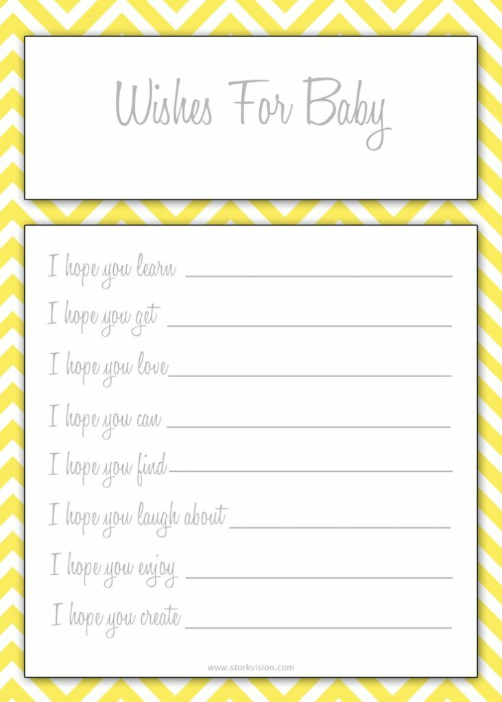 Unforgettable image within wishes for baby printable
