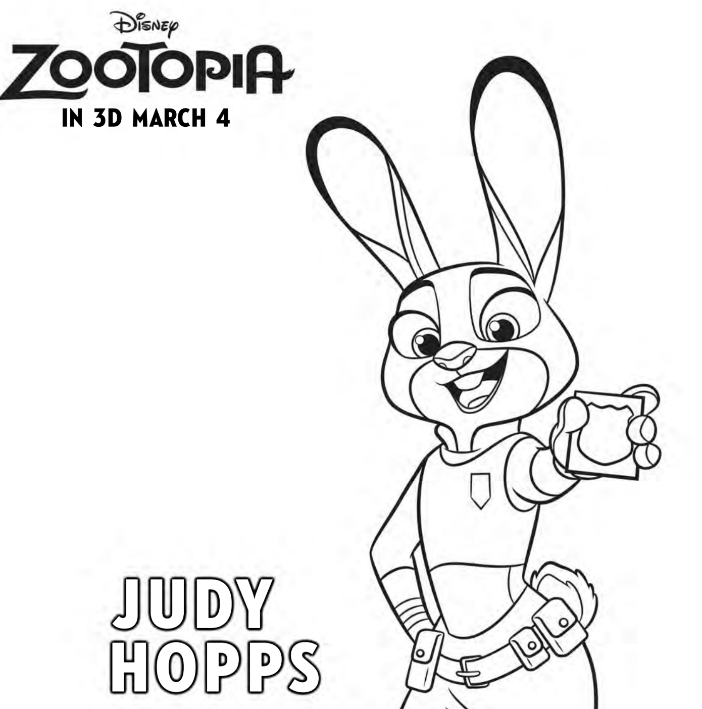 Zootopia Coloring Pages Free. Zootopia Coloring Pages  Judy Hopps coloring page Free Printables For The Kids