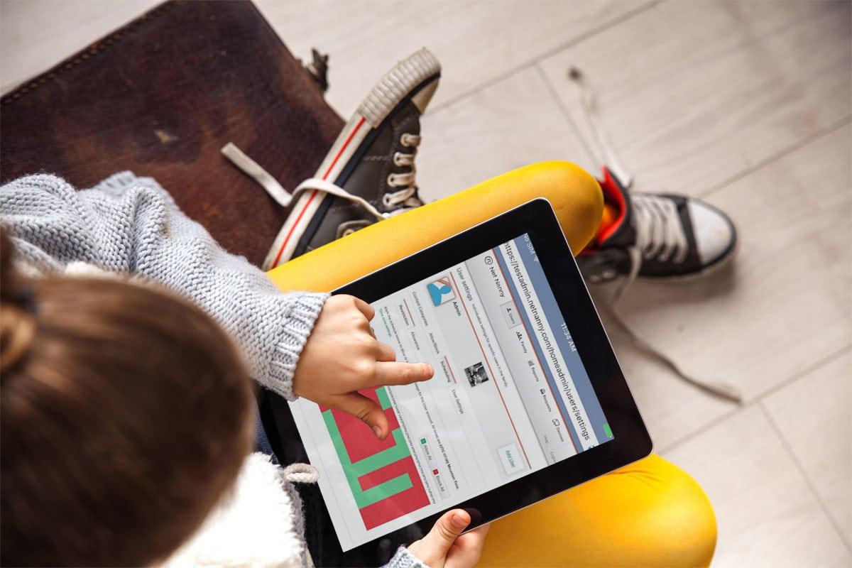 Urban school girl with ipad tablet