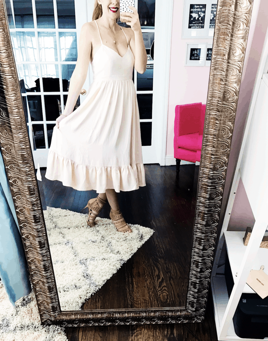 Ballerina Style Dress: J Crew Drapey Spaghetti-Strap Dress #50DressesForSpring