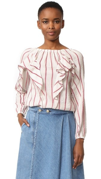 ruffled striped shirt