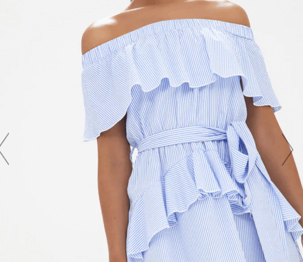 Blue Striped Bardot Ruffle Detail Tie Dress