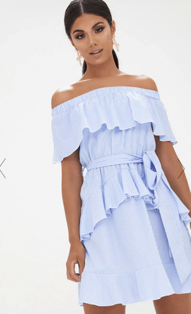 Blue Striped Bardot Ruffle Detail Tie Dress - Show Off Your Shoulders