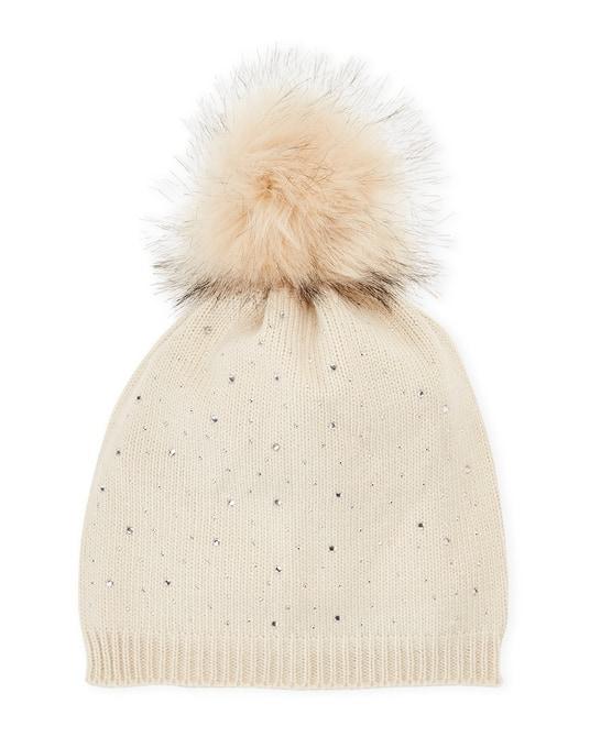 C-Lective Studded Faux Fur Pom-Pom Hat